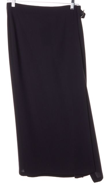 CALVIN KLEIN Brown Wool Long Midi Wrap Skirt