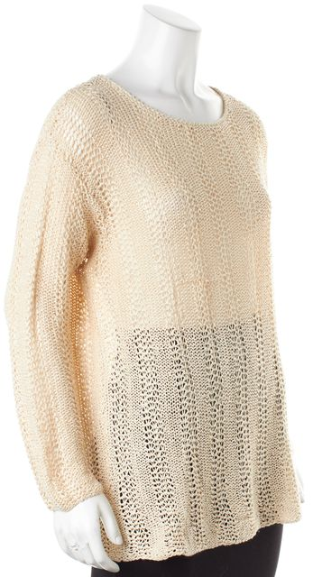 CALVIN KLEIN Beige Linen Long Sleeve Open Knit Top