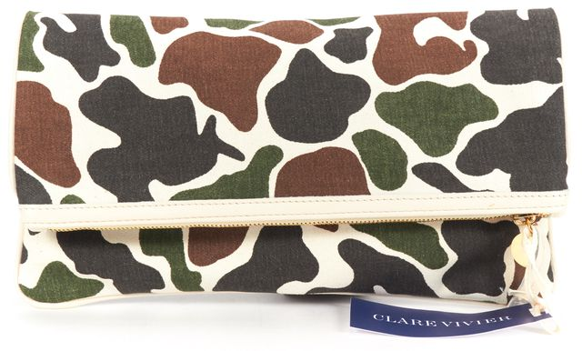 CLARE VIVIER Multi-color Camo Printed Canvas Fold Over Clutch Bag