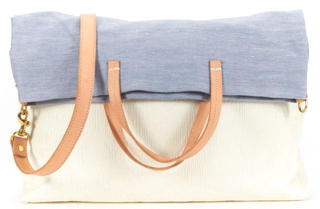 CLARE VIVIER Authentic Blue Woven Ivory Leather Tonal Shoulder Tote Bag