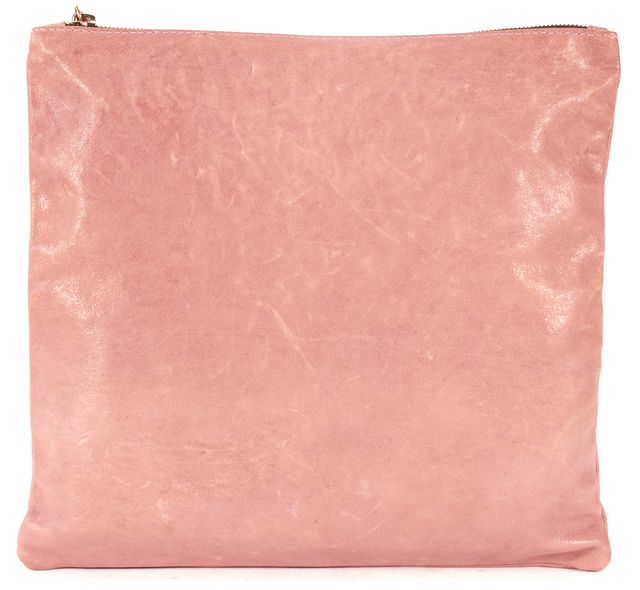 CLARE VIVIER Pink Distressed Leather Pouch Clutch