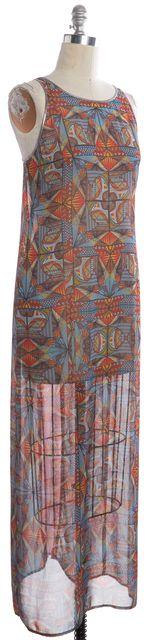 CLOVER CANYON Multi-color Geometric Print Sheer Maxi Dress