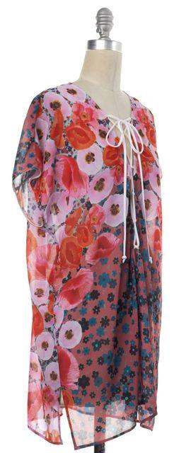 CLOVER CANYON Pink Multi-color Floral Lace-up Drop Shoulder Shift Dress