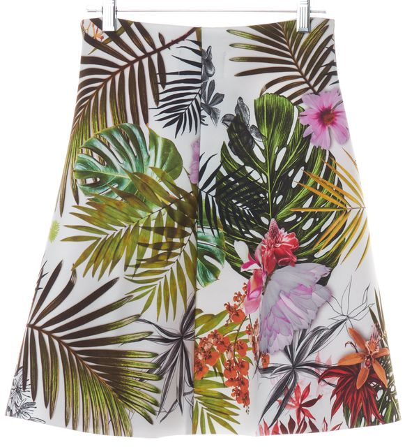 CLOVER CANYON White Multi-color Floral Print Neoprene A-Line Skirt