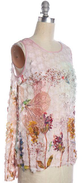 CLOVER CANYON Pink Floral Applique Sleeveless Top