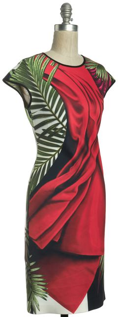 CLOVER CANYON Red Green Abstract Print Knee Length Sheath Dress