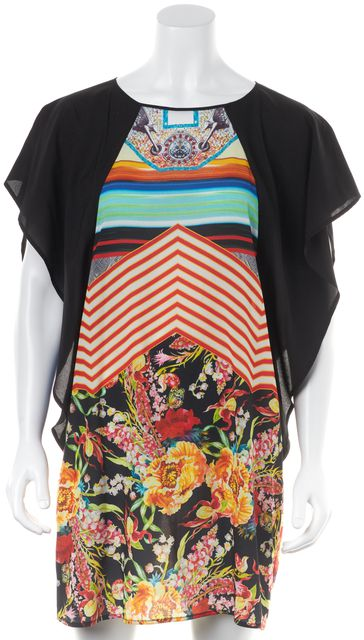 CLOVER CANYON Black Red Yellow Abstract Dolman Sleeve Shift Dress
