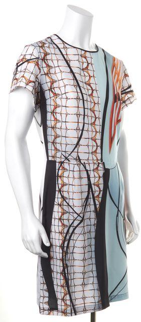 CLOVER CANYON Blue Orange Abstract Short Sleeve Blouson Dress