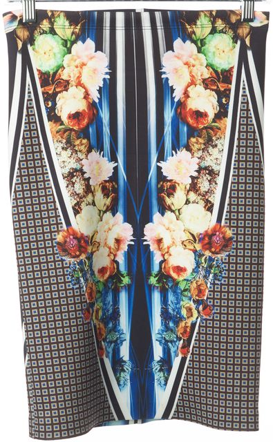 CLOVER CANYON Multi-Color Floral Geometric Printed Neoprene Pencil Skirt
