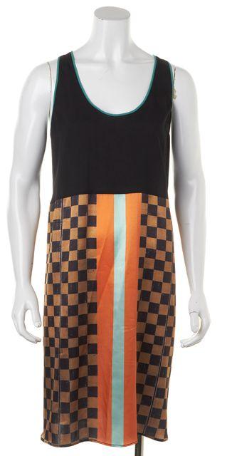CLOVER CANYON Black Multi Geometric Check Print Sleeveless Shift Dress
