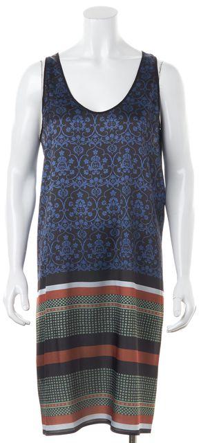 CLOVER CANYON Blue Black Multi Floral Printed Satin Tank Shift Dress