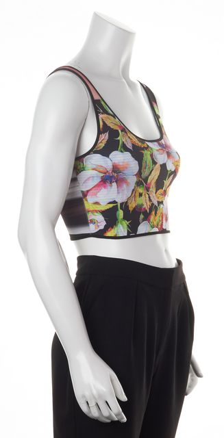 CLOVER CANYON Black White Green Floral Print Cropped Blouse Top