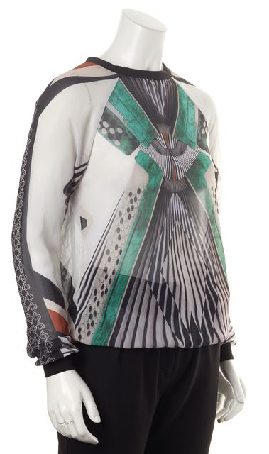 CLOVER CANYON Multi-Color Sheer Abstract Geometric Jersey Trim Blouse Top