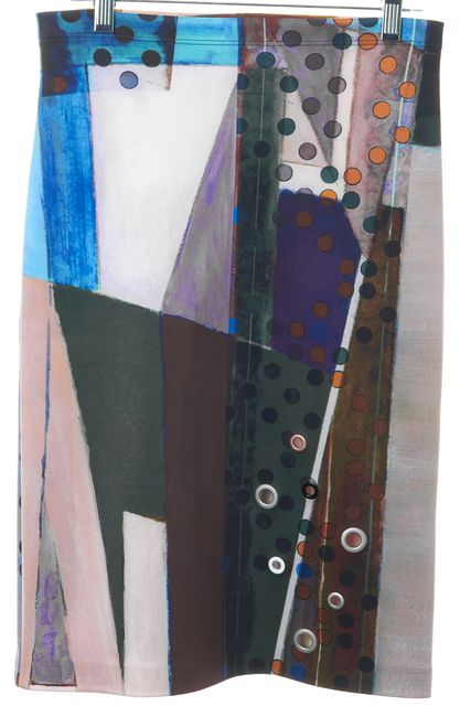 CLOVER CANYON Pink Blue Abstract Grommet Embellished Pencil Skirt