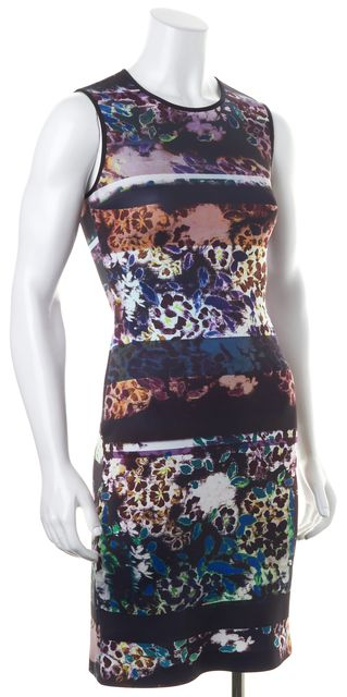 CLOVER CANYON Multi-Color Floral Printed Neoprene Sleeveless Bodycon Dress