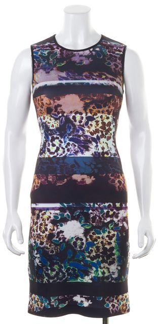 CLOVER CANYON Multi-Color Floral Printed Neoprene Sleeveless Bodycon Dress