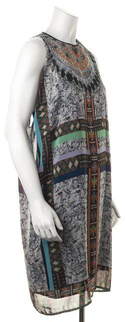 CLOVER CANYON Multi-Color Abstract Diamond Printed Sleeveless Shift Dress