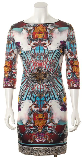 CLOVER CANYON White Blue Multi Mirrored Abstract Print Bodycon Dress