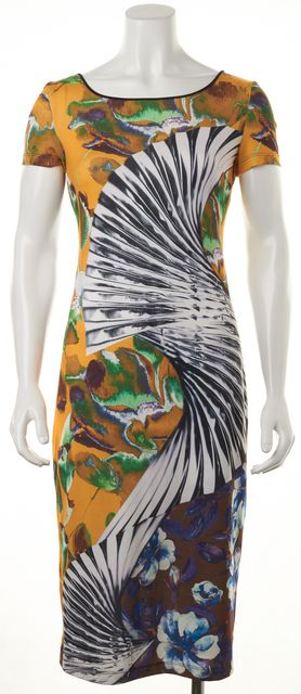 CLOVER CANYON Yellow Multi Floral Abstract Printed Sheath Dress