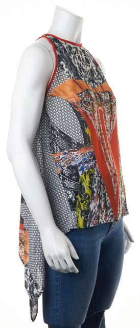 CLOVER CANYON Black Orange Yellow Abstract Hi-Low Blouse Top