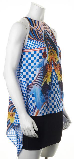CLOVER CANYON Blue White Orange Abstract Sleeveless Blouse Top
