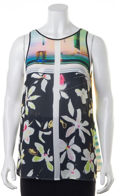 CLOVER CANYON Black Pink White Abstract Sleeveless Blouse Top