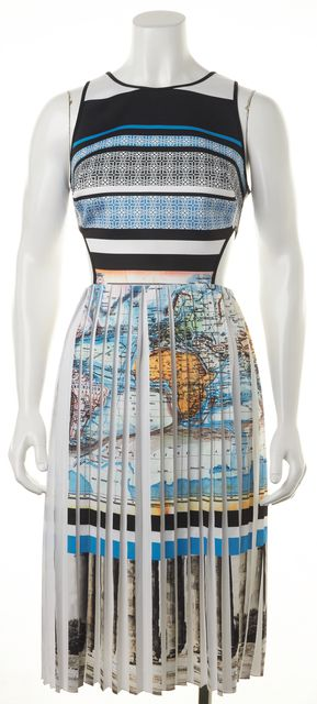 CLOVER CANYON Multicolor Striped Map Printed Cutout Pleated Fit Flare Dress