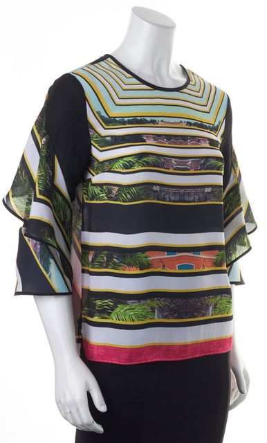 CLOVER CANYON Black Yellow Green Floral Landscape Print Blouse Top