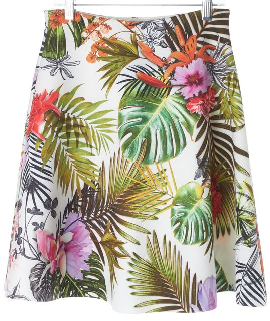 CLOVER CANYON White Green Pink Flora Above Kneel A-Line Skirt