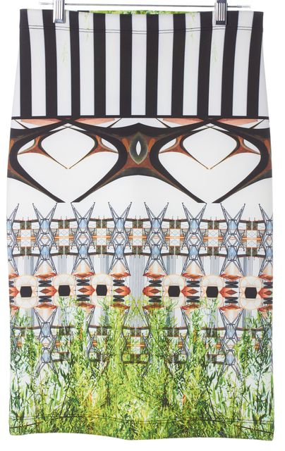 CLOVER CANYON White Green Mirrored Abstract Knee-Length Pencil Skirt