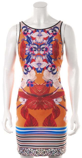 CLOVER CANYON Orange Blue Abstract Floral Sleeveless Bodycon Dress