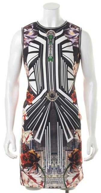 CLOVER CANYON White Black Red Floral City Print Sheath Dress