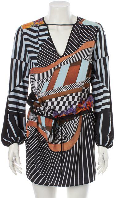 CLOVER CANYON Black Blue Brown Floral Striped Blouson Dress