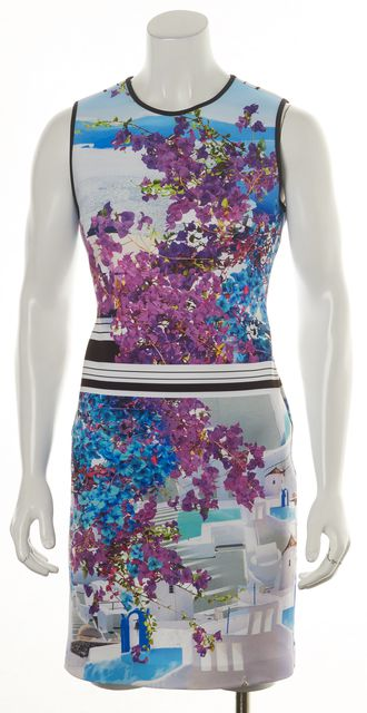 CLOVER CANYON Purple Blue White Abstract Floral Bodycon Dress