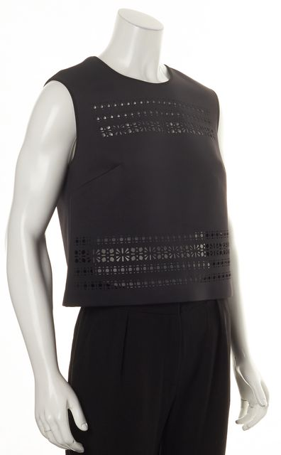 CLOVER CANYON Black Laser Cut Semi Sheer Cropped Blouse Top