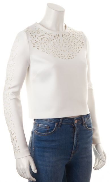 CLOVER CANYON White Yellow Laser Cut Cropped Blouse Top
