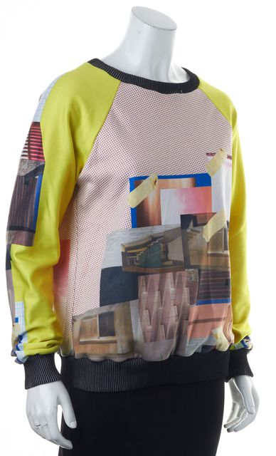 CLOVER CANYON Yellow Red Blue White Geometric Print Crewneck Sweater