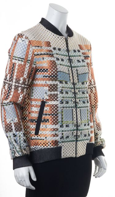 CLOVER CANYON Brown Ivory Green Geometric Print Laser Cut Basic Jacket