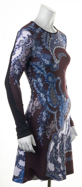 CLOVER CANYON Purple Blue Abstract Floral Long Sleeve Sheath Dress