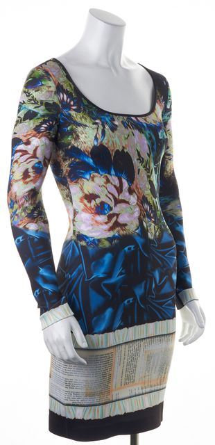 CLOVER CANYON Black Blue Pink Abstract Floral Bodycon Dress