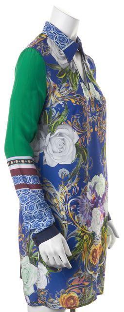 CLOVER CANYON Blue Green Purple Floral Print Cut Out Back Shift Dress