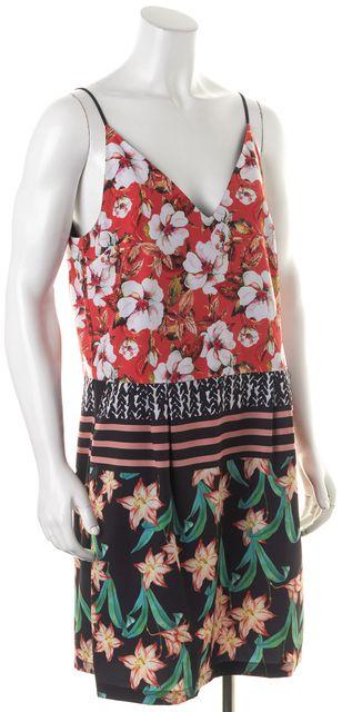 CLOVER CANYON Red Black White Green Floral Print Thin Strap Shift Dress
