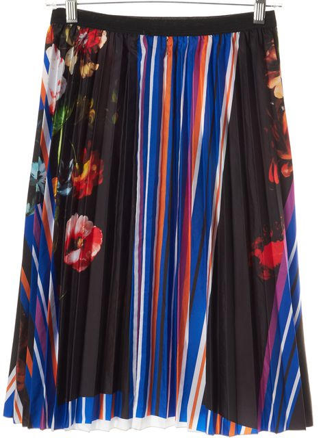CLOVER CANYON Multi-Color Floral Printed Stretch Waist Pleated Skirt