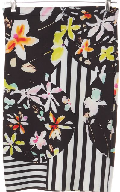 CLOVER CANYON Black White Floral Striped Neoprene Pencil Skirt