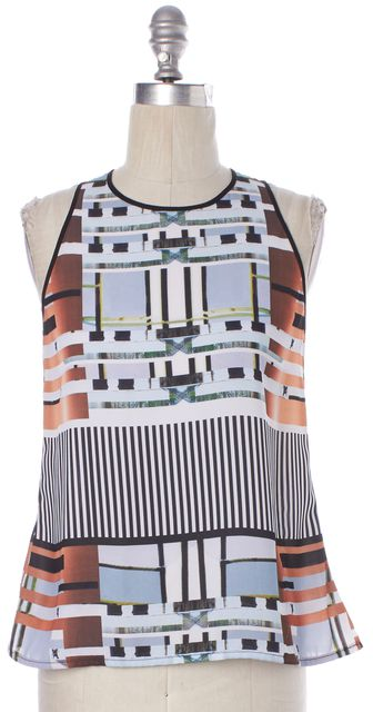 CLOVER CANYON White Blue Black Abstract Striped Sleeveless Blouse Top