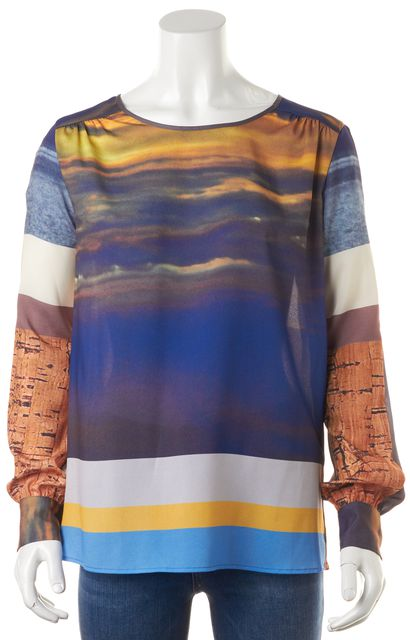 CLOVER CANYON Blue Yellow White Open Back Blouse Top