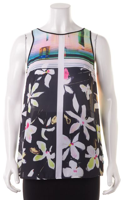 CLOVER CANYON Multi-color Floral Abstract Blouse Top