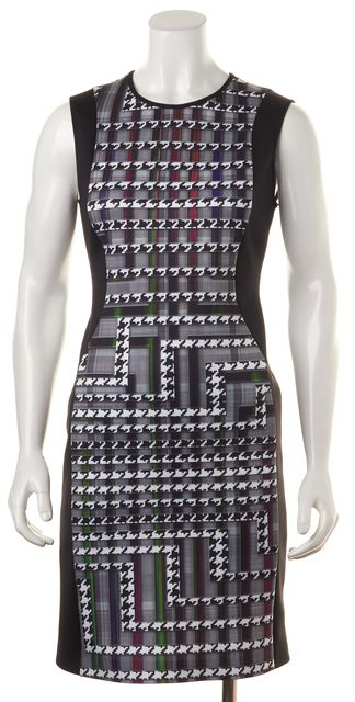 CLOVER CANYON Black Sleeveless Abstract Printed Stretch Dress