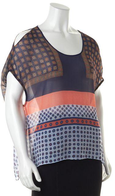 CLOVER CANYON Blue Orange Geometric Cutout Shoulder Sheer Blouse Top