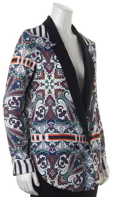 CLOVER CANYON Black White Abstract Paisley Basic Thin Jacket